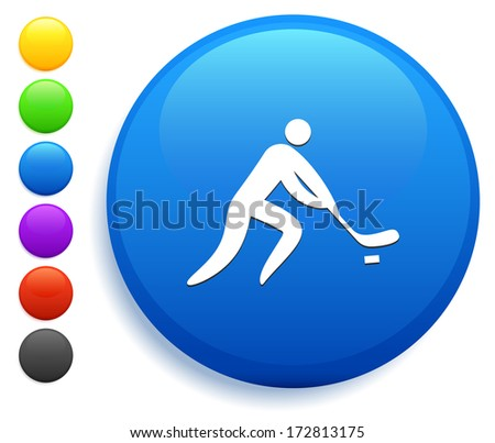 Hockey Icon on Round Button Collection - stock vector