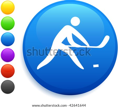 hockey icon on round internet button original vector illustration 6 color versions included - stock vector