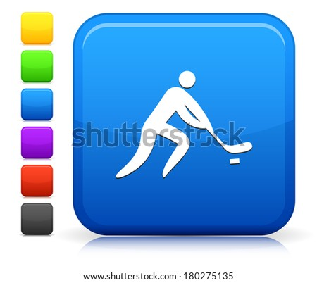 Hockey Icon on Square Internet Button Collection - stock vector