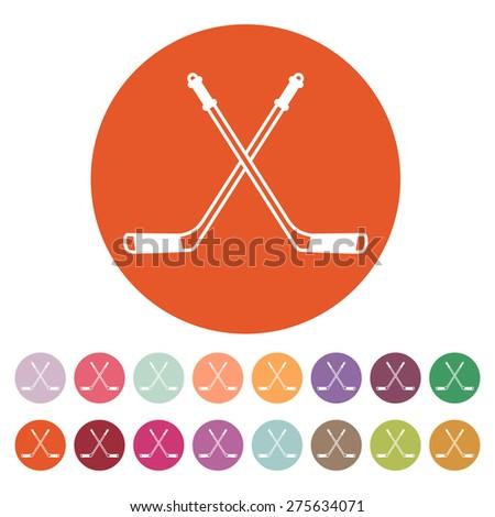Hockey icon. Sport symbol. Flat Vector illustration. Button Set - stock vector