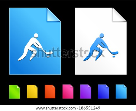 Hockey Icons on Colorful Paper Document Collection - stock vector
