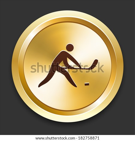 Hockey Icons on Gold Button Collection - stock vector