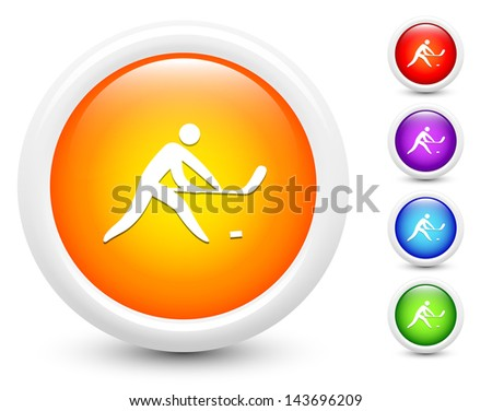Hockey Icons on Round Button Collection Original Illustration - stock vector