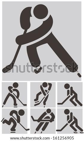 Hockey icons set - stock vector