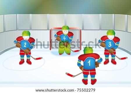 Hockey illustration - stock vector
