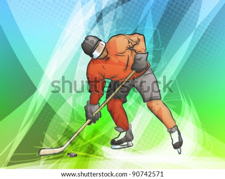 Hockey Player/ Abstract Sports Background - stock vector