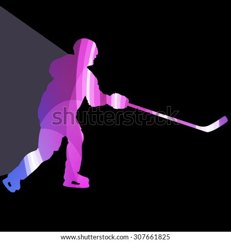 Hockey player man silhouette illustration vector background colorful concept made of transparent curved shapes