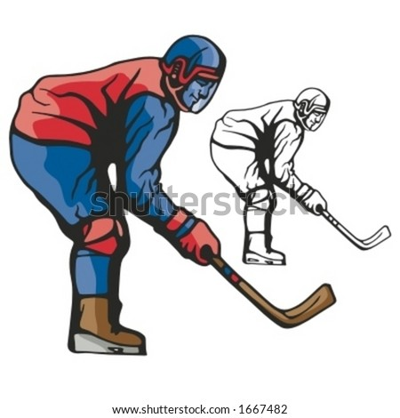 Hockey player. Vector illustration