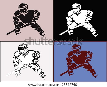 Hockey Players Silhouettes with Hockey Stick or Club in Hand. Sportswear Mascot for a Logotype. Digital Vector Illustration.