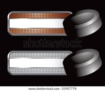 hockey puck on diamond checkered banners - stock vector