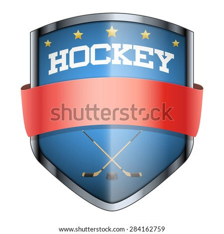Hockey Shield badge. The symbol of the sports club or team. Vector Illustration isolated on white background. - stock vector