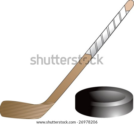 hockey stick and puck - stock vector