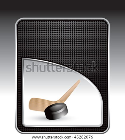 hockey stick and puck black checkered backdrop - stock vector