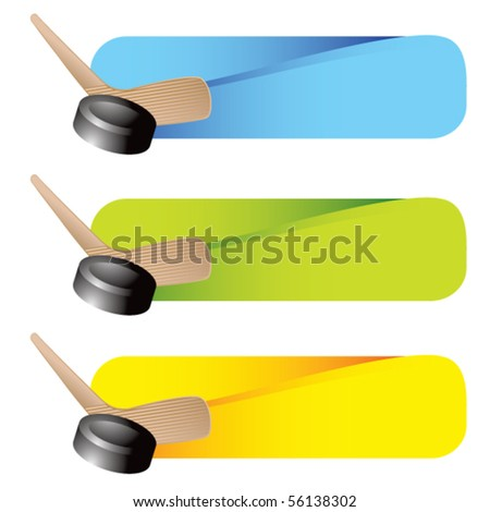 hockey stick and puck colored tabs - stock vector