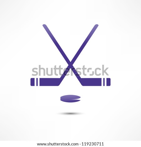 Hockey Stick And Puck Icon - stock vector