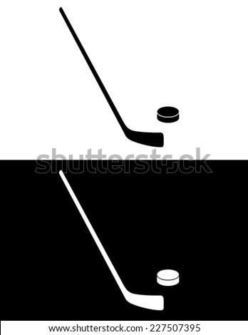 Hockey Stick and Puck Set - Vector - stock vector