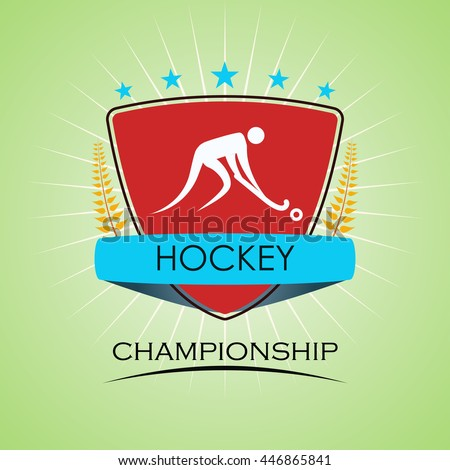 Hockey - Winner Golden Laurel Seal with Golden Ribbon - Layered EPS 10 Vector - stock vector