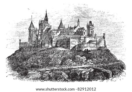 Hohenzollern Castle or Burg Hohenzollern in Stuttgart, Germany, during the 1890s, vintage engraving. Old engraved illustration of Hohenzollern Castle. Trousset encyclopedia (1886 - 1891). - stock vector