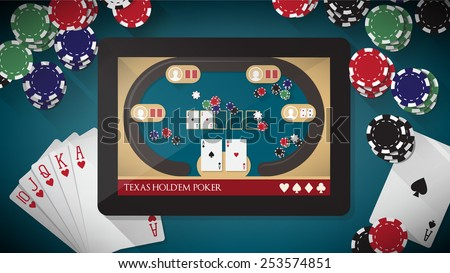 Hold'em poker app with users playing online on tablet, chips and cards all around - stock vector
