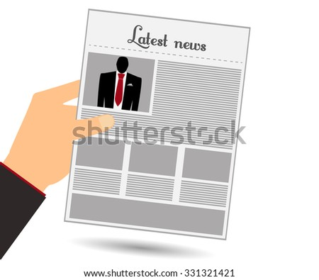 Hold in your hand a newspaper. Read the newspaper. Man in a suit and red tie. View news in the newspaper. Vector illustration.  - stock vector
