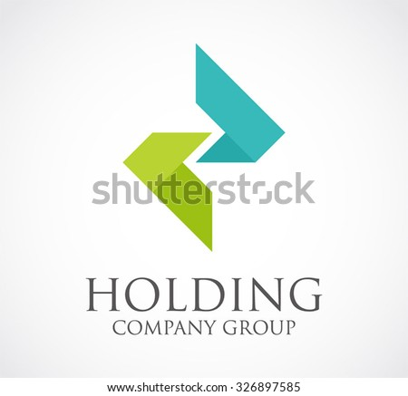 Holding connection ribbon abstract vector and logo design or template professional company icon of business corporate identity symbol concept - stock vector