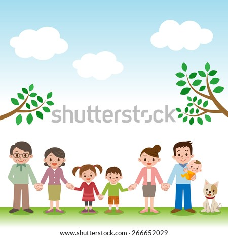 Holding Hands happy three generation family - stock vector