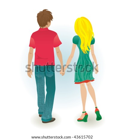 Holding hands. Vector illustration of a young couple holding hands. - stock vector