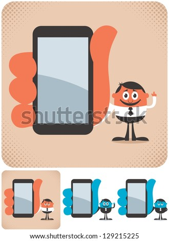 Holding Smartphone: Businessman showing you something on his smartphone. The illustration is in 4 versions. No transparency and gradients used. - stock vector