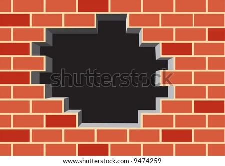 Hole in the brick wall. Vector illustration - stock vector