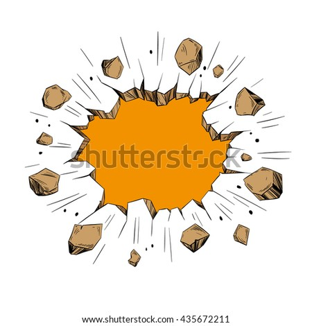 Hole in the wall. Comics style. Hand drawn vector illustration