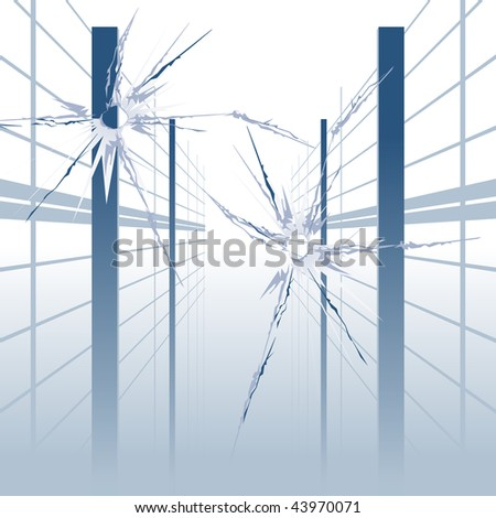 holes in glass - stock vector