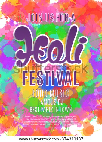 Holi festival poster template flyer brochure stock photo photo holi festival poster template for flyer brochure or invitation card vector illustration stopboris Images