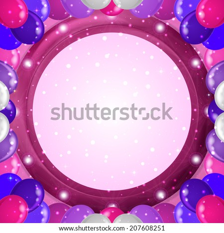 Holiday abstract background for web design with colorful balloons frame and round lilac window on pink wall. Eps10, contains transparencies. Vector - stock vector
