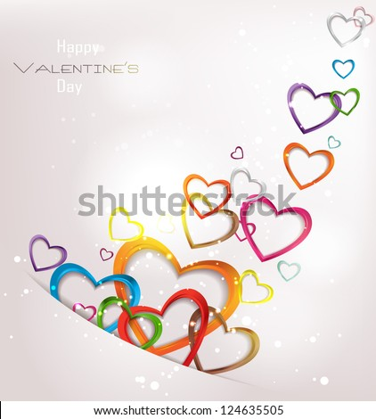 Holiday abstract background with colorful hearts - stock vector