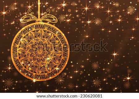 Holiday abstract Christmas background with snowflakes, ball,  shiny stars in gold color. New year lights, starry sky  - stock vector