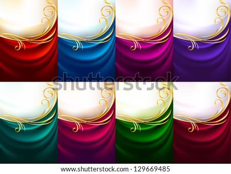 Holiday backdrops - Set colored fabrics, vector illustration - stock vector