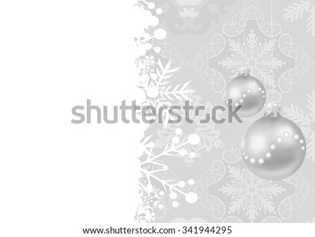 Holiday Background, christmas ornaments, Christmas Pattern, Christmas ball, Christmas card, Holiday lights, Christmas Decorations, Grey color, Vector illustration - stock vector