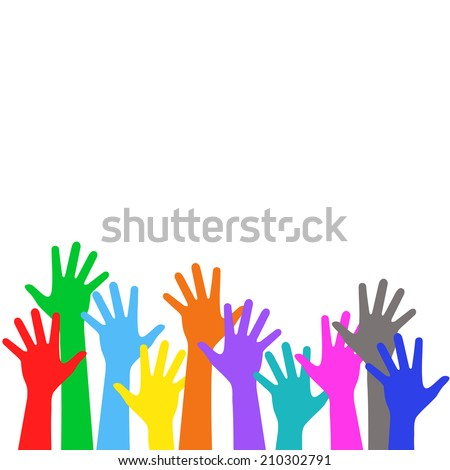 Holiday background - colorful children hands is lifted upwards