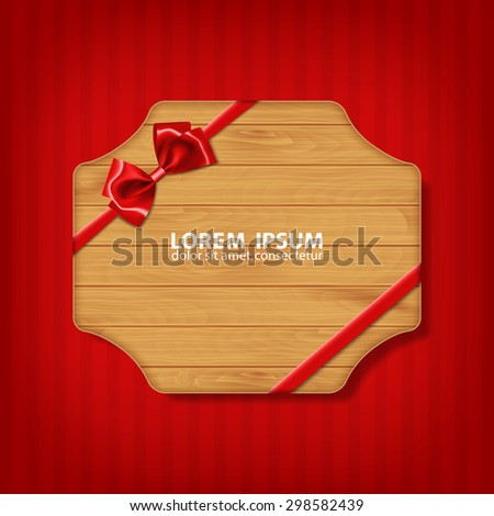 Holiday background. Gift bow and ribbon with wooden texture. EPS10 vector - stock vector
