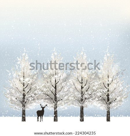 Holiday background in winter with snowy trees and reindeer.  File contains Gradient mesh. - stock vector