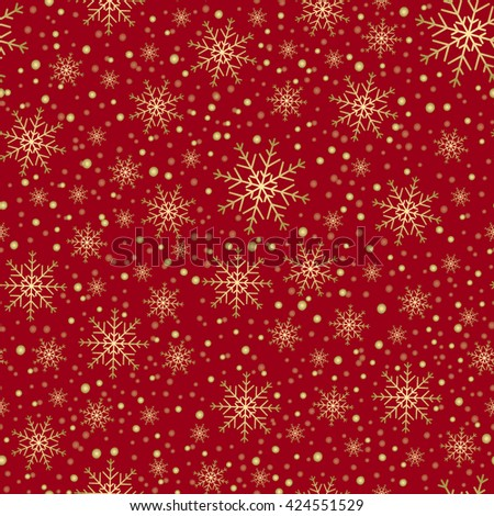 Holiday background, snowflake pattern, Christmas Decoration, seamless winter background with snowflakes. Vector illustration. - stock vector