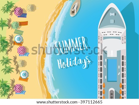 Holiday Background. Top view of sea, ship and beach with sand, umbrellas. Flat vector illustration. - stock vector