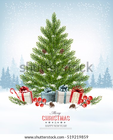 Holiday background with a christmas tree and presents. Vector.