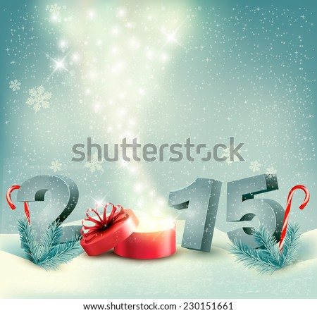 Holiday background with a gift box and 2015. Vector.  - stock vector