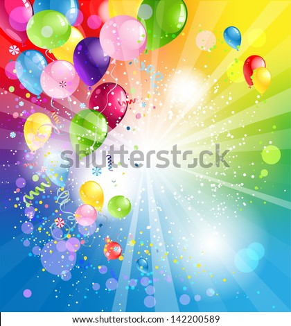 Holiday background with balloons - stock vector