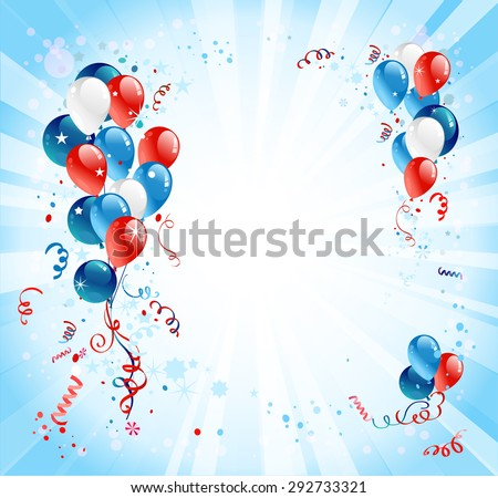 Holiday background with balloons and confetti. Place for advertising, cards, invitation and so on.    - stock vector