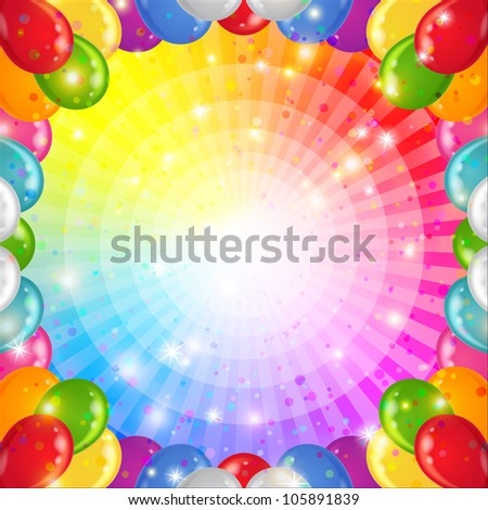 Holiday background with balloons frame, beams and stars on round rainbow. Vector eps10, contains transparencies - stock vector