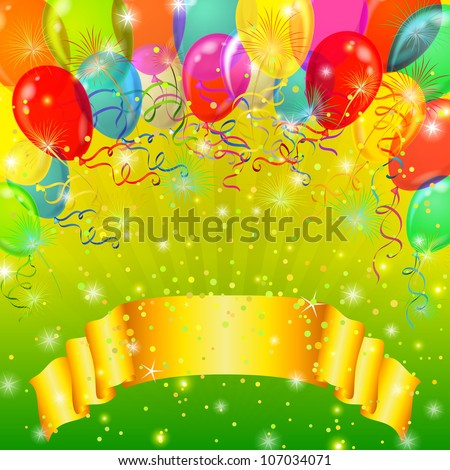 Holiday background with banner, various color balloons, fireworks and confetti on green. Vector eps10, contains transparencies - stock vector