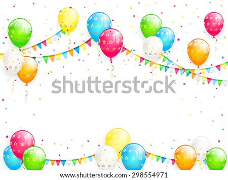 Holiday background with Birthday balloons, pennants, streamers and multicolored confetti, illustration. - stock vector