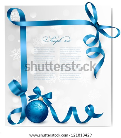Holiday background with blue gift ball with blue ribbons. Vector illustration. - stock vector